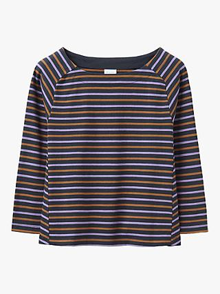 Toast Striped Cotton Swing Tee, Slate/Saffron