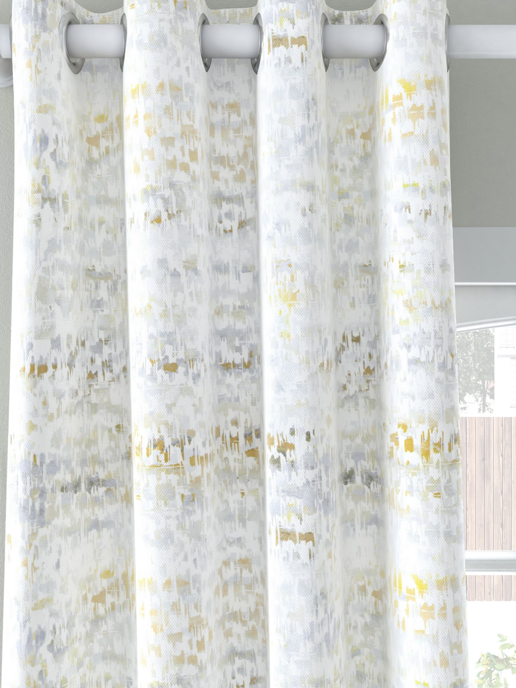 John Lewis & Partners Abstract Pair Blackout Lined Eyelet Curtains