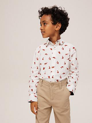 John Lewis & Partners Heirloom Collection Boys' Fox Print Shirt, Multi