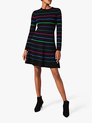 Phase Eight Tyler Striped Skater Dress, Black