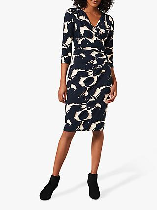 Phase Eight Naava Abstract Print Knee Length Dress, Navy