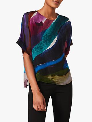 Phase Eight Clem Abstract Print Silk Blouse, Multi