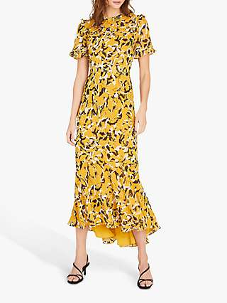 Damsel in a Dress Leigh Abstract Print Fit and Flared Dress, Mustard