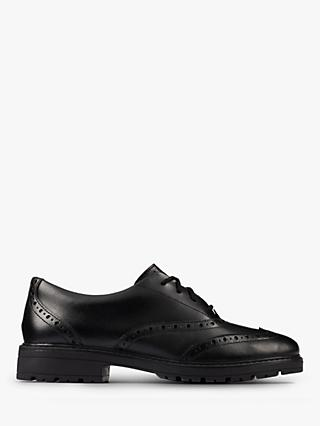 Clarks Children's Loxham Brogue School Shoes, Black Leather
