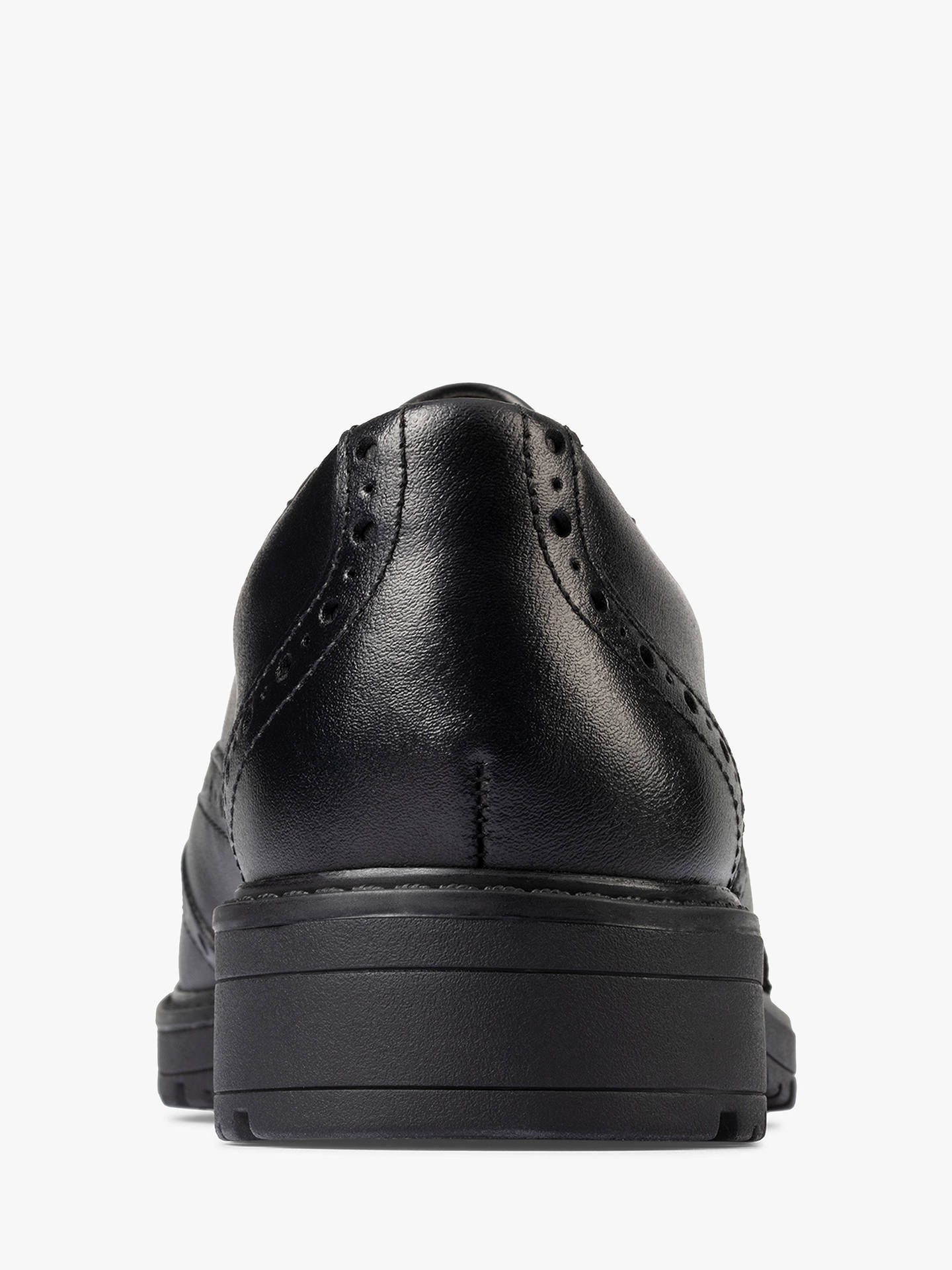 Buy Clarks Children's Loxham Brogue School Shoes, Black Leather, 3F Online at johnlewis.com