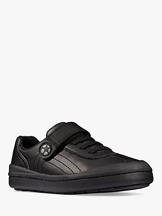 Clarks Children's Rock Pass Leather School Shoes, Black