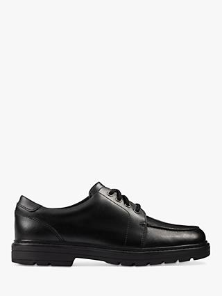 Clarks Children's Loxham Pace School Shoes, Black Leather