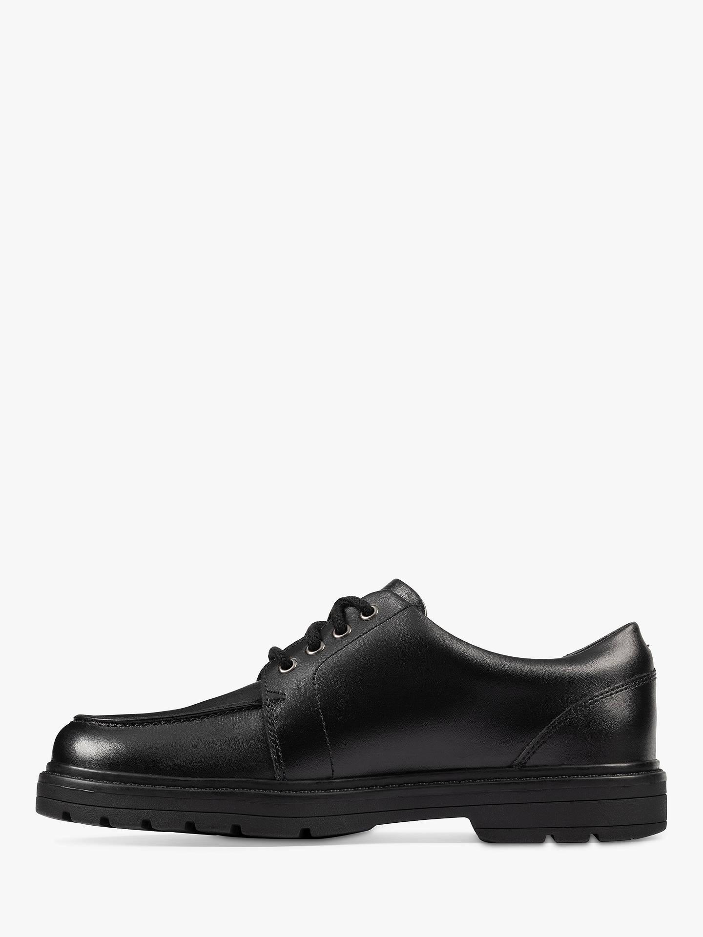 Buy Clarks Children's Loxham Pace School Shoes, Black Leather, 3F Online at johnlewis.com