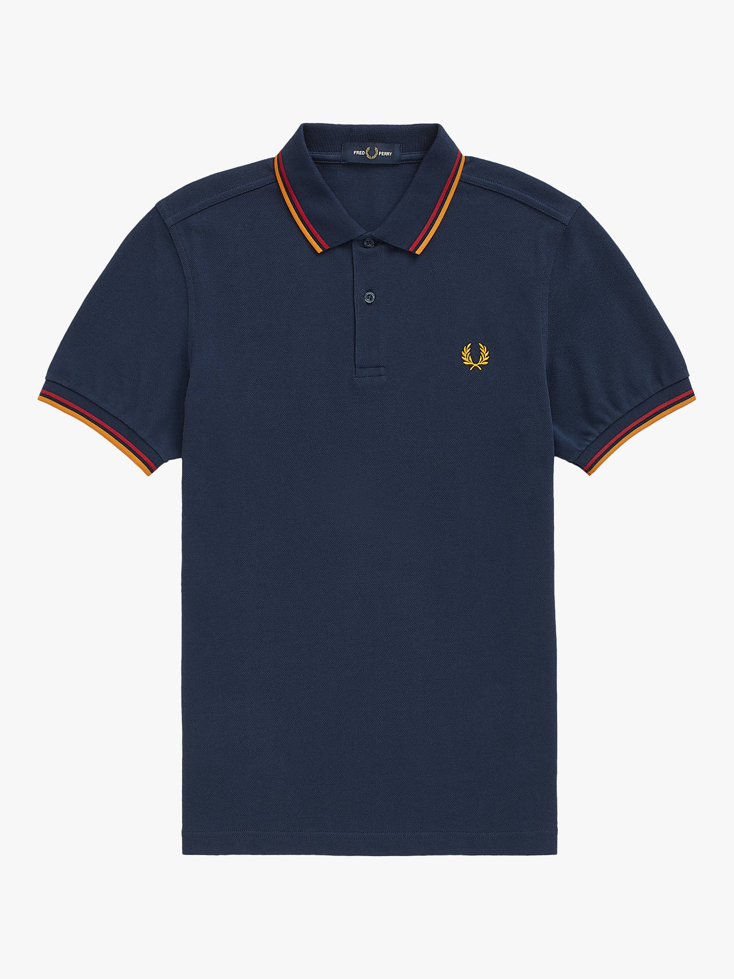 Buy Fred Perry Twin Tipped Regular Fit Polo Shirt, Dark Carbon/Deep Red/Amber, S Online at johnlewis.com