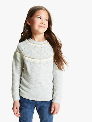 John Lewis & Partners Girls' Metallic Yoke Jumper, Grey/Multi