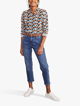Boden Modern Running Horse Print Classic Cotton Shirt, Blue/Multi