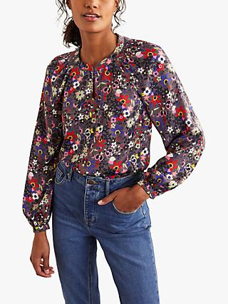 Boden Kitty Floral Smocked Neck Blouse