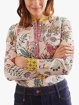 Boden Heritage Bloom Print Silk Collarless Blouse, Ivory/Multi