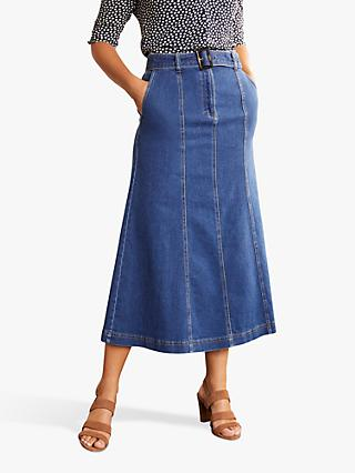 Boden Everdene Denim Midi Skirt, Mid Vintage