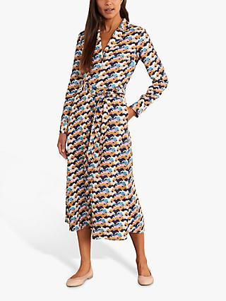 Boden Ottilie Horse Print Shirt Dress, Navy
