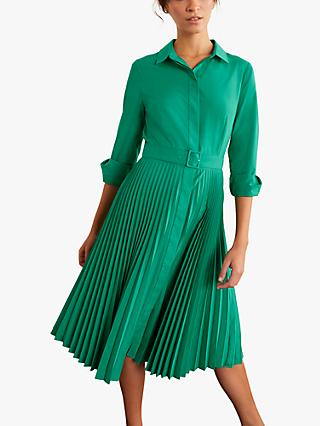 Boden Alma Pleated Shirt Dress, Wild Meadow Green
