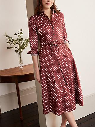 Boden Isodora Polka Dot Midi Shirt Dress, Maroon