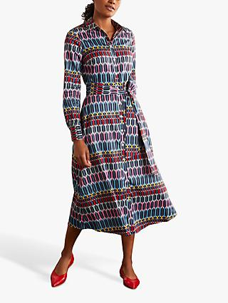 Boden Isodora Crystal Print Midi Shirt Dress, Cobble Grey