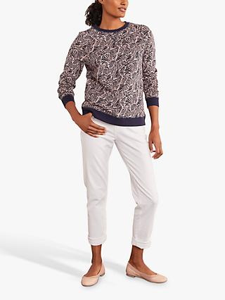 Boden The Sweatshirt, Milkshake/Navy Ripple Wave