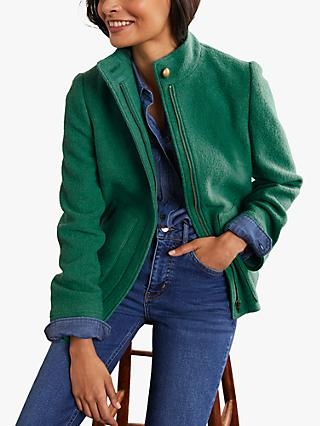 Boden Howell Wool Blend Funnel Neck Jacket, Forest Green