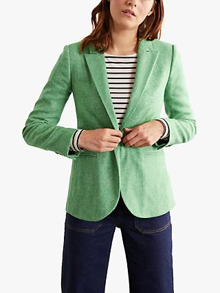 Boden Atkins Wool Tweed Blazer, Green Herringbone