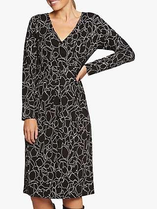 Masai Copenhagen Nilisa Abstract Floral Print Knee Length Dress, Black/White