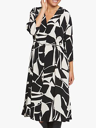 Masai Copenhagen Nini Monochrome Print Midi Dress, Black/White