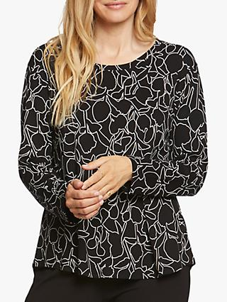 Masai Copenhagen Badisna Floral Abstract Print Top, Black/White