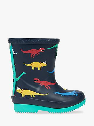 Little Joule Junior Dinosaur Wellington Boots, Navy