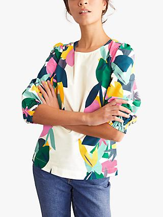 Boden Joanna Abstract Palm Print Top, Ivory