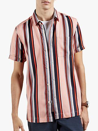 Ted Baker Sossi Striped Short Sleeved Shirt, Orange/Multi
