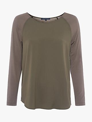 French Connection Crepe Light Long Sleeve Top, Tarmac Khaki