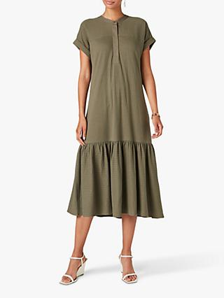 Jigsaw Seersucker Smock Dress, Dusty Khaki