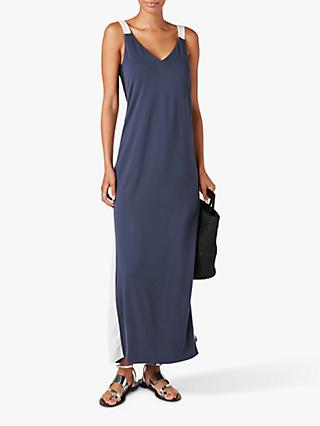 Jigsaw Satin Mix Maxi Dress, Navy