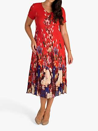 Chesca Floral Border Crush Pleat Chiffon Dress