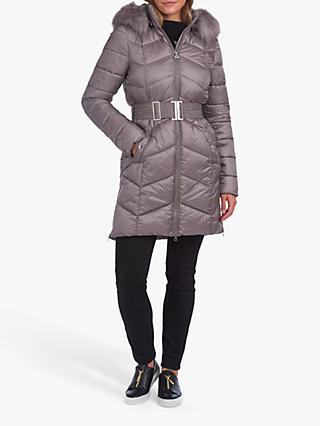 Barbour International Match Quilted Faux Fur Jacket, Grey