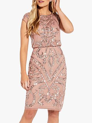 Adrianna Papell Blouson Sheath Dress, Rose Gold