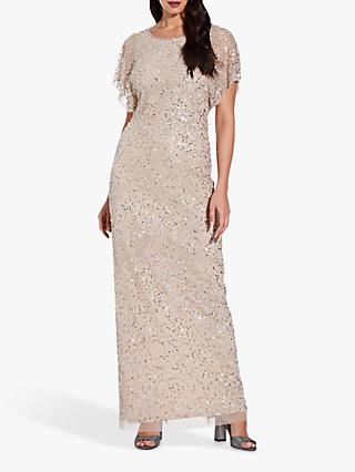 Adrianna Papell Long Beaded Flutter Sleeve Gown, Biscotti