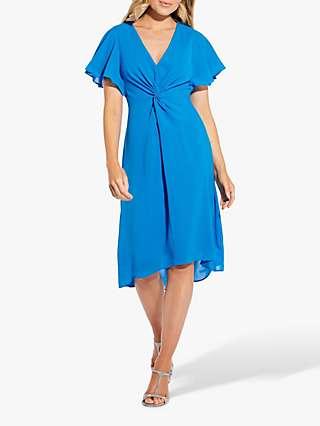 Adrianna Papell Twist Front Midi Dress, Electric Blue