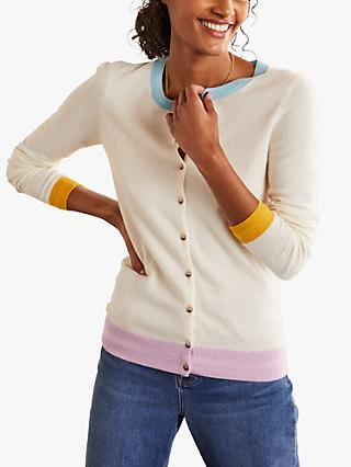 Boden Cashmere Crew Colour Block Cardigan, White