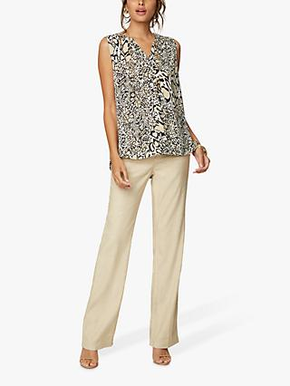 NYDJ Animal Sleeveless Pintuck Blouse, Abstract Jaguar