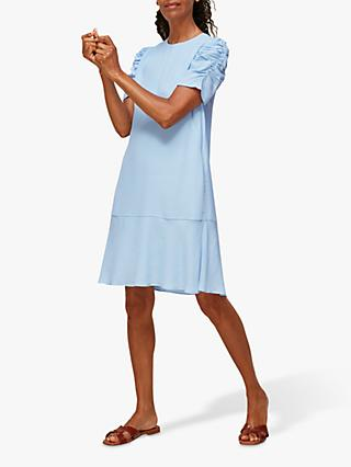 Whistles Georgina Zip A-Line Dress, Pale Blue