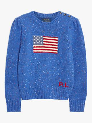 Ralph Lauren Girls' Wool Blend Preppy Flag Jumper, Navy
