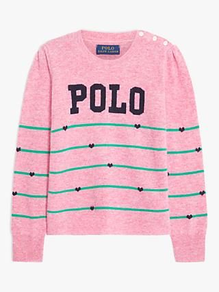 Ralph Lauren Girls' Striped Polo Jumper, Preppy Pink Heather