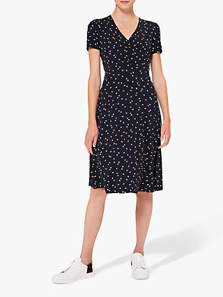 Hobbs Nia Jersey Floral Knee Length Dress, Navy/Ivory