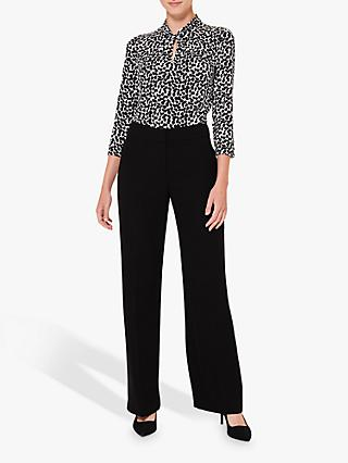 Hobbs Sleeved Amber Abstract Top, Black/Ivory
