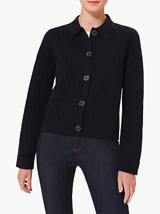 Hobbs Mia Knitted Jacket, Navy