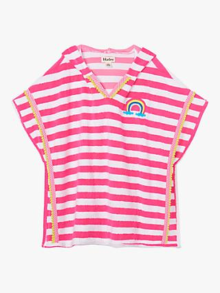Hatley Kids' Striped Towelling Coverup, Pink/White