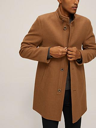 Bugatti Wool Blend Funnel Neck Overcoat, Camel