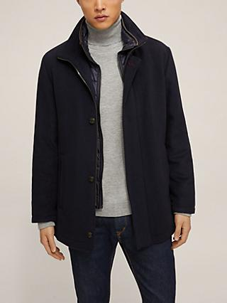 Bugatti Wool Blend Funnel Neck Overcoat, Navy